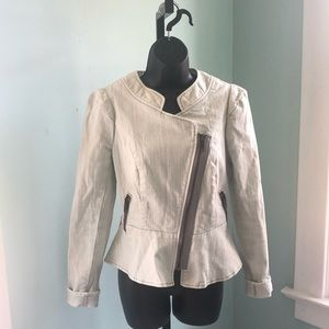 Free people cotton zip up jacket ruffled bottom